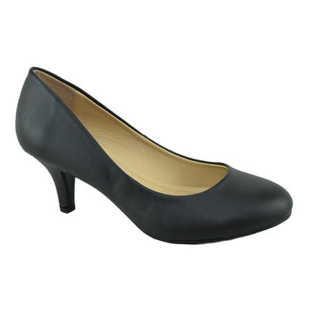 City Classified Comfort Women Classic High Heel Pumps Closed Round Toe CARLOS Black PU 5.5