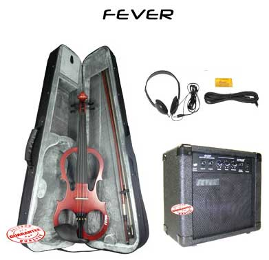 Fever Solid Wood Brown Electric Violin with 20 Watts Amplifier by Fever
