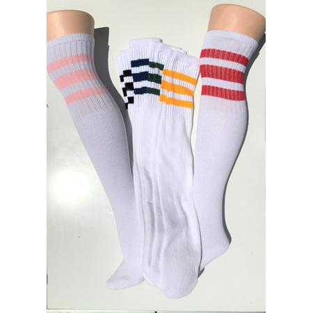 Stripe Tube Socks - 6Pr  Over The Knee Old School 3 Striped Tube Socks