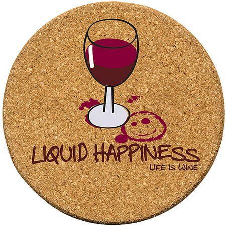 Thirstystone Cork Drink Coasters Set, Liquid Happiness