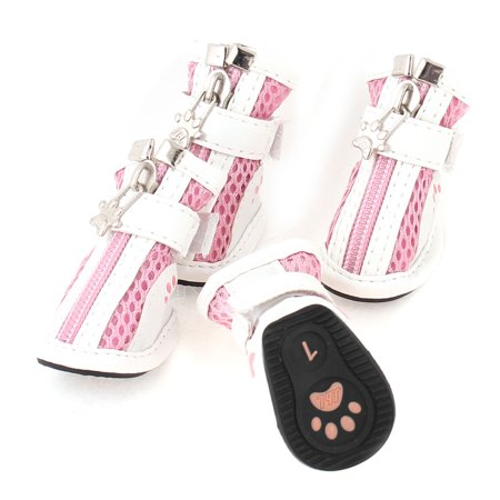 Unique Bargains 2 Pair Zipper Closure Mesh Design Pet Dog Doggy Yorkie White Pink Shoes XXS - Dobby Dog Halloween