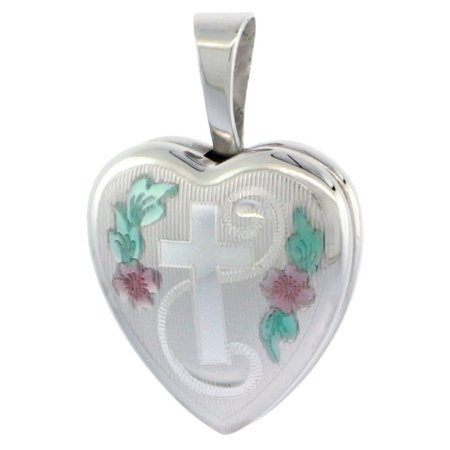 Very Tiny Sterling Silver Heart Locket Necklace Engraved Cross 1/2 inch wide