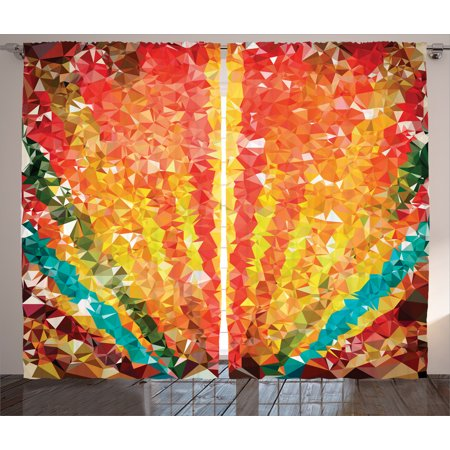 Elegant Curtains 2 Panels Set, Pop Art Diamond Sun Rays Beams Shady Stripes Nature Rainbow Design Groovy Graphic, Living Room Bedroom Decor, Orange Red, by - Stripes Design Diamond