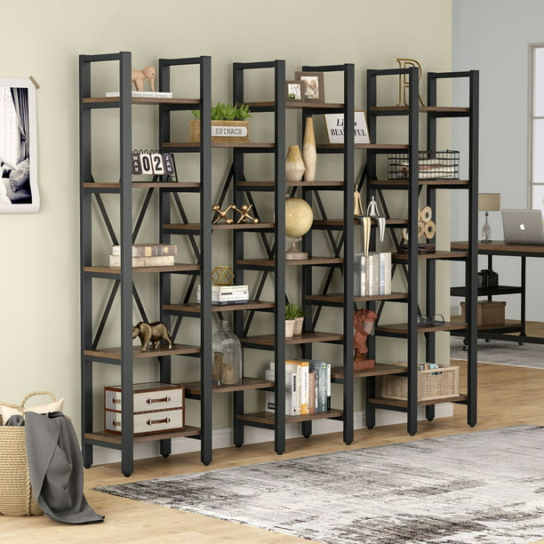 Tribesigns Rustic Super Wide 5 Tier Bookcase with 23 Shelves, 5-Shelf Etagere Large Open Bookshelf Vintage Industrial Style Shelves Wood and Metal bookcases Furniture for Home & Office, Rustic Brown