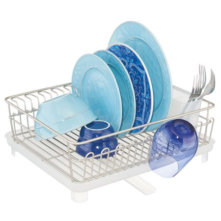 mDesign Large Kitchen Sink Dish Drying Rack, Swivel Spout -