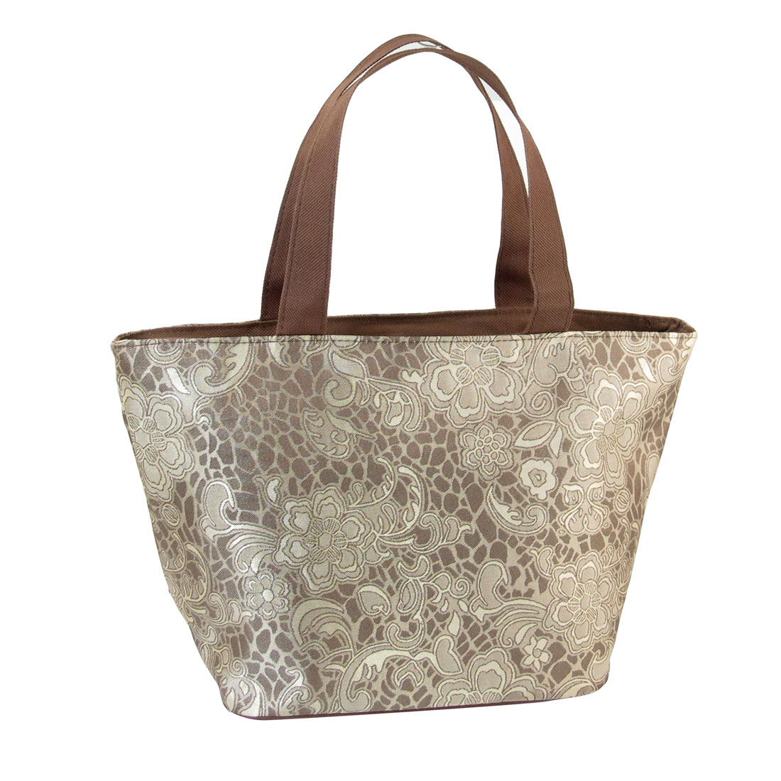 Housewife Protable Light Khaki Brown Flower Print Shopping Handbag Shoulder Bag