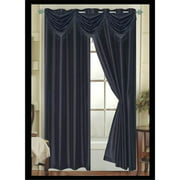 Editex 627VALG3710 Elaine Waterfall Faux Silk Valance Elaine with 2 Grommets in Black