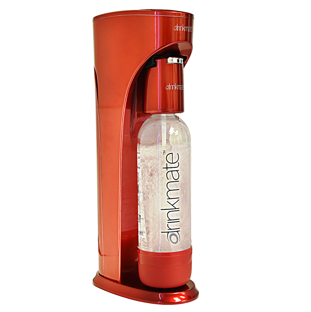 DrinkMate Sparkling Water and Drink Maker without CO2 Cylinder, Metallic Red