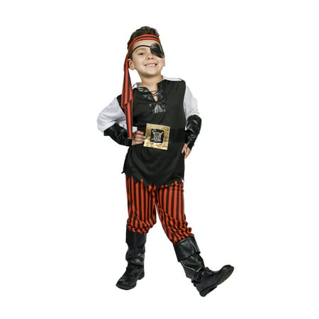 Pirate Costume with LIGHT UP BELT, eye patch,Wrist cuffs, boot covers Boys Kids Size M 5,6,7,8 Years Old