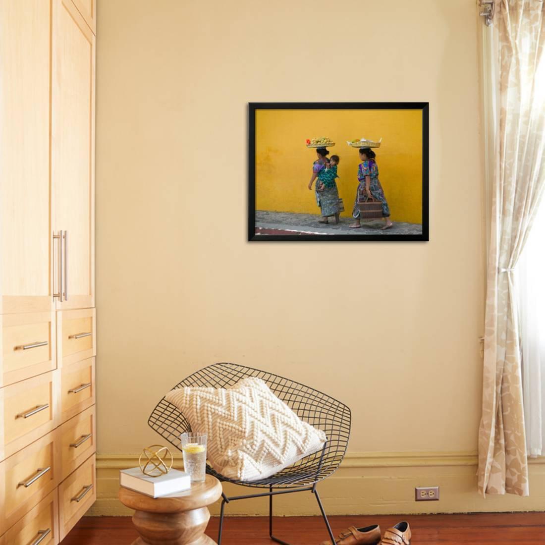 Women Carrying Basket on Head, Antigua, Guatemala Framed Print Wall ...