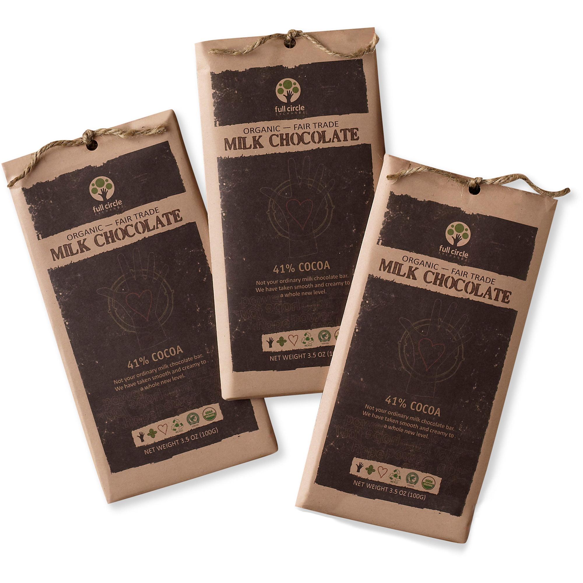 Full Circle Exchange Organic Milk Chocolate Bars, 3.5 oz, (Pack of 3)
