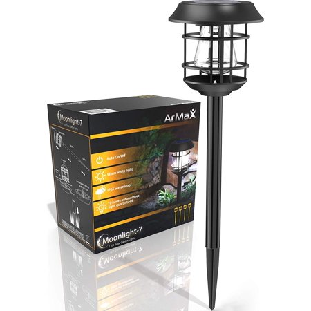 Solar Walkway In-Ground Stake Lights Outdoor - For Garden Pathway Driveway Sidewalk Yard Lawn Path - Outside Landscape Lighting - Bright Warm White LED Light Up To 25HR - 4 Pack Set - Waterproof ()