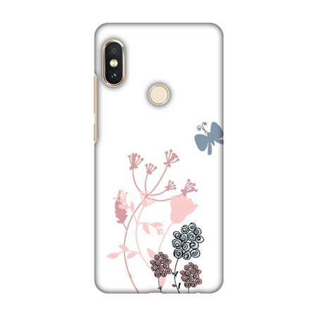 - Xiaomi Redmi Note 5 Pro Case - Flowers and butterfly- White, Hard Plastic Back Cover, Slim Profile Cute Printed Designer Snap on Case with Screen Cleaning Kit