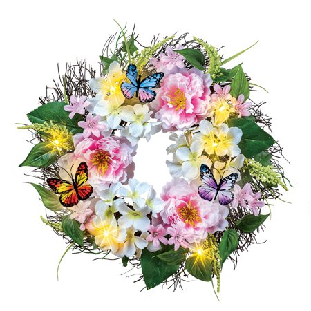 Light Up Peony Floral Wreath with Butterflies - Spring Décor for Home or Outdoor Accent