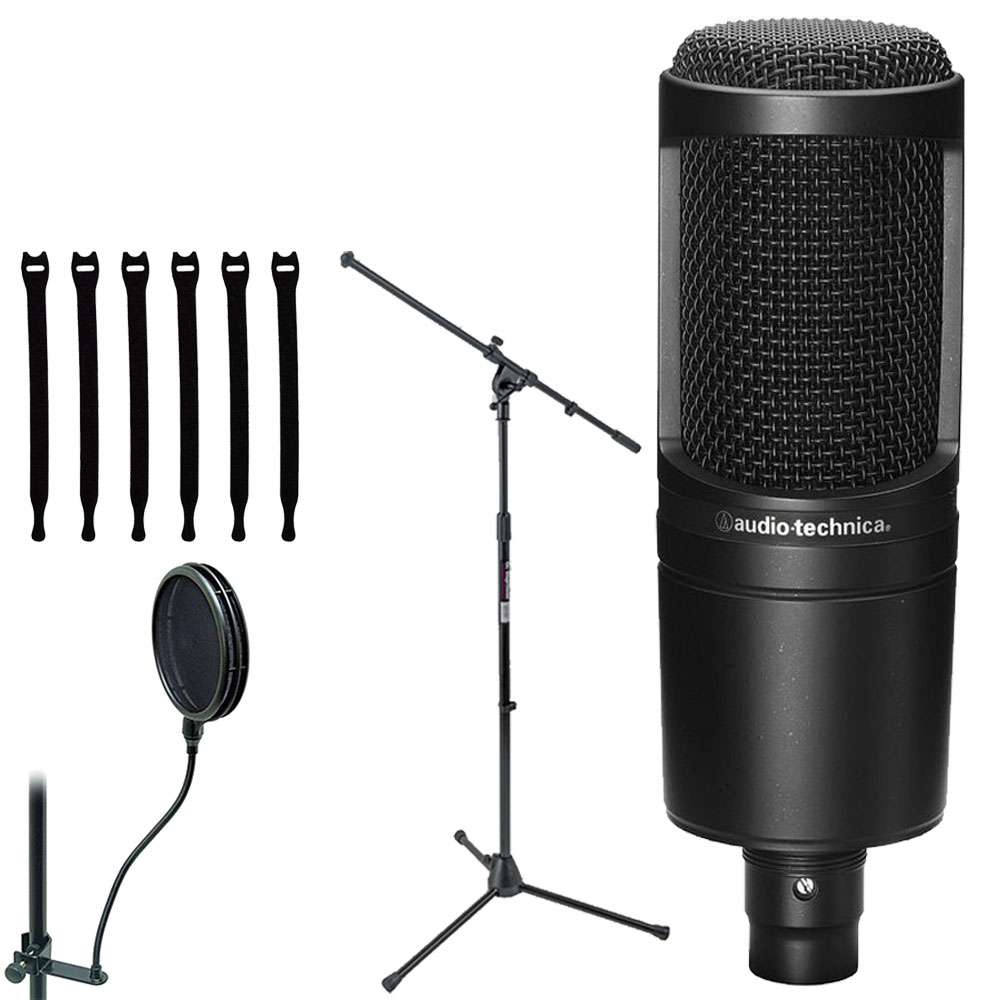 Audio-Technica AT2020 Cardioid Condenser Studio Microphone+ On Stage Dual-Screen Pop Blocker ASFSS6-GB + On Stage Euro Boom Microphone Stand + Op/Tech Strapeez, Black 4301002
