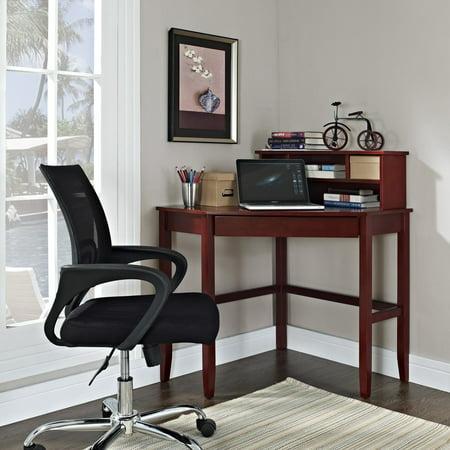 Cherry 42' Corner Hutch - Corner Laptop Writing Desk with Optional Hutch - Cherry