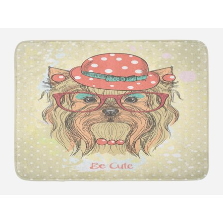 Yorkie Bath Mat, Be Cute Portrait of an Adorable Dog with Earrings Necklace Glasses Hat Makeup, Non-Slip Plush Mat Bathroom Kitchen Laundry Room Decor, 29.5 X 17.5 Inches, Pale Brown Coral, Ambesonne