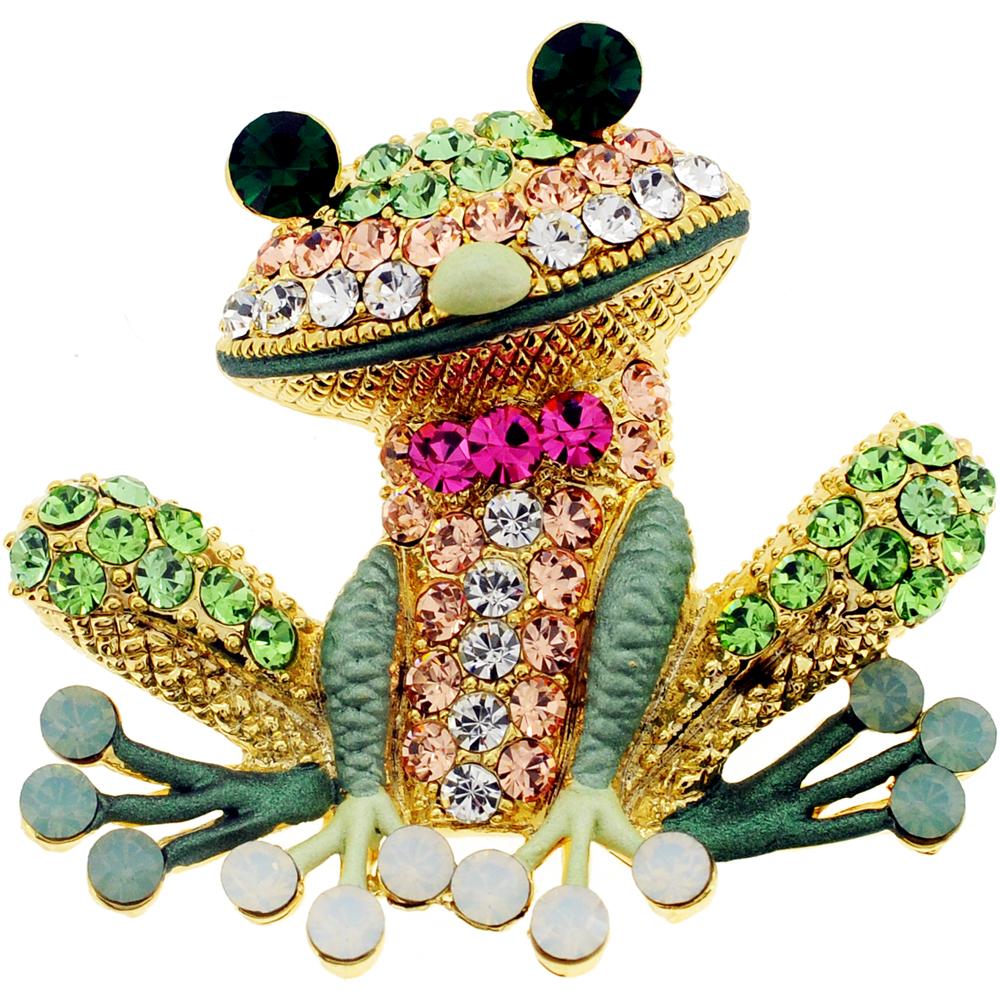 Erinite Green Frog Pin Swarovski Crystal Pin Brooch And Pendant by