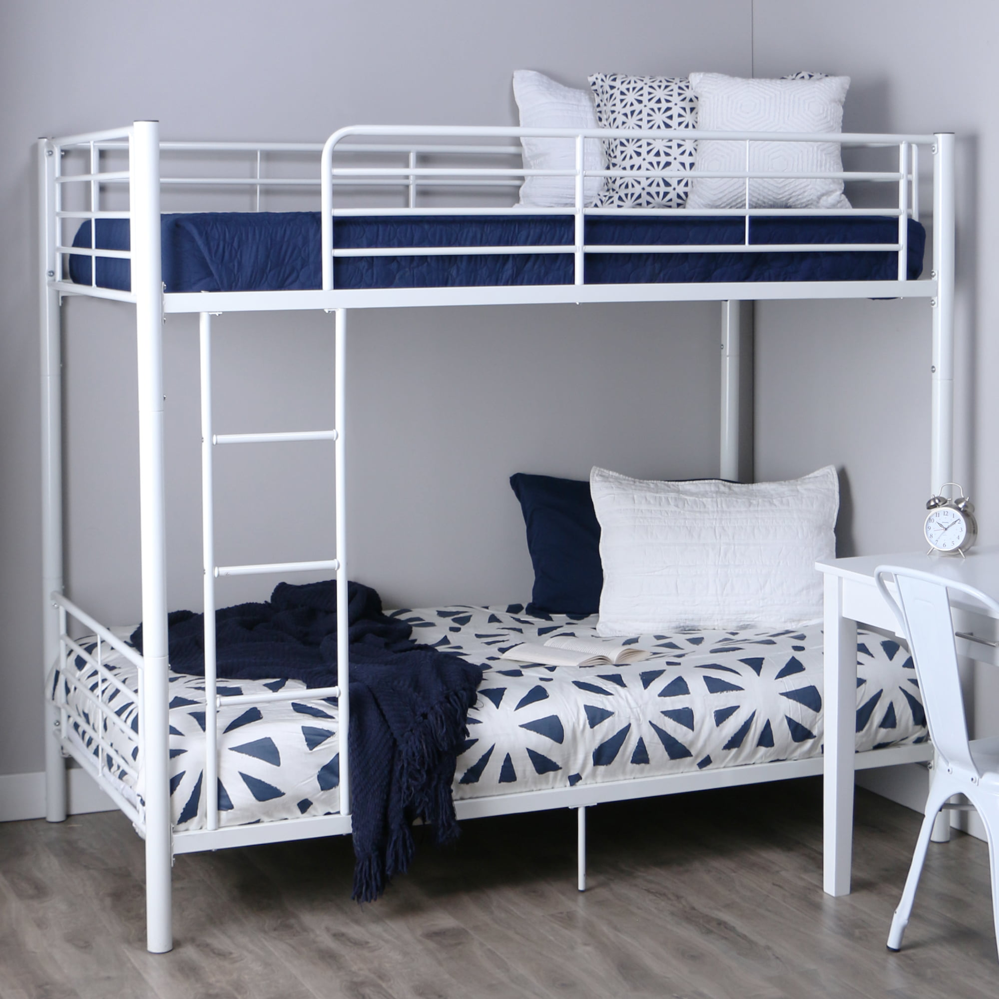 Walker Edison Twin Over Twin Metal Bunk Bed White