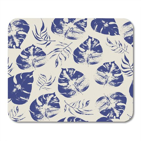 LADDKE Delicate Exotic Tropical Floral Monstera and Areca Palm Leaves Monochromatic Artistic Openwork Stamp Mousepad Mouse Pad Mouse Mat 9x10 inch