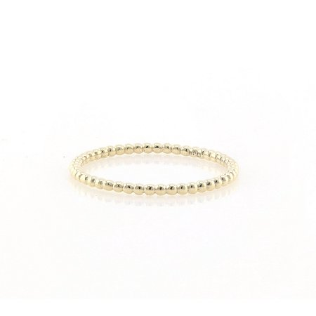 14K Yellow Gold Thin Beaded Eternity Band Ring