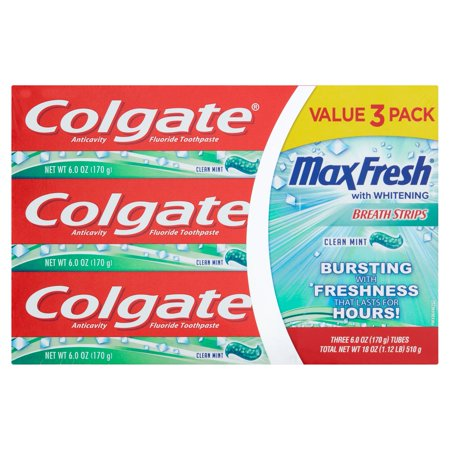 Colgate Max Fresh Toothpaste with Mini Breath Strips Clean Mint - 6oz/3pk