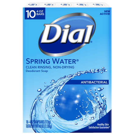 Dial Antibacterial Deodorant Bar Soap, Spring Water, 4 Ounce, 10 (Best Antibacterial Bath Soap)