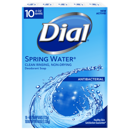 Dial Antibacterial Deodorant Bar Soap, Spring Water, 4 Ounce, 10 Bars ()