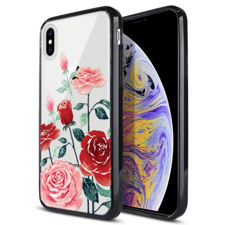 FINCIBO Slim TPU Bumper + Clear Hard Back Cover for Apple iPhone XS Max 6.5