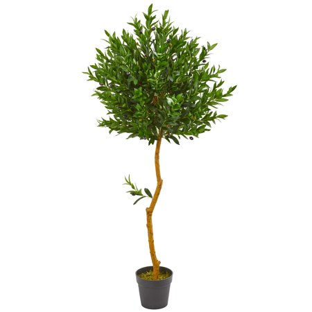 Nearly Natural 58-In. Olive Topiary Artificial Tree UV Resistant (Indoor/Outdoor) Olive Tree Topiary