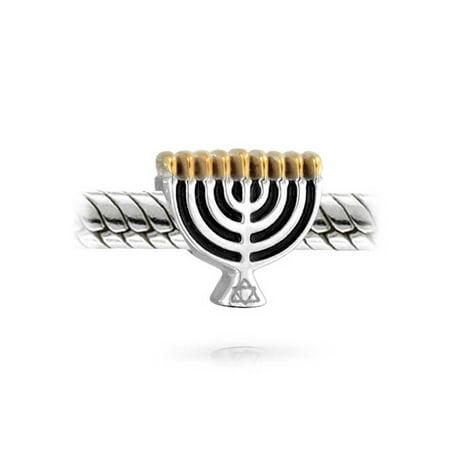 Chanukah Menorah Hanukkah Festival Charm Bead For Women 2 Tone 14K Gold Plated Sterling Silver Fits European Bracelet - image 1 de 2