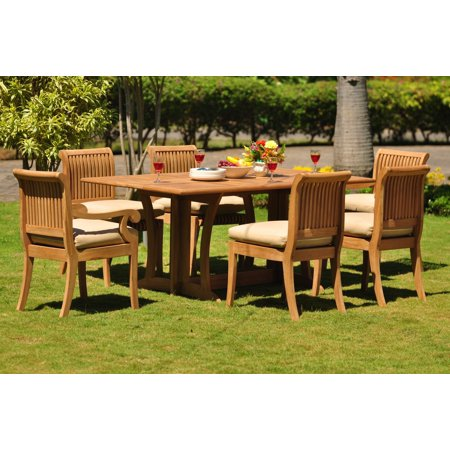 teak dining set 6 seater 7 pc 69 warwick dining rectangle table - Garden Furniture 6 Seater Sets