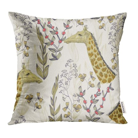 Blossom Giraffe (USART Brown Animal Hand Draw with Giraffe Birth Blossom Botanical Branch Contour Drawing Pillow Case Pillow Cover 16x16 inch Throw Pillow Covers)
