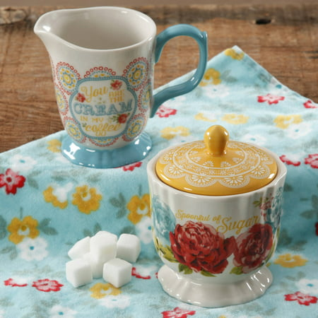 The Pioneer Woman Blossom Jubilee Creamer and Sugar Pot (Kitchen Collection Glass Creamer)