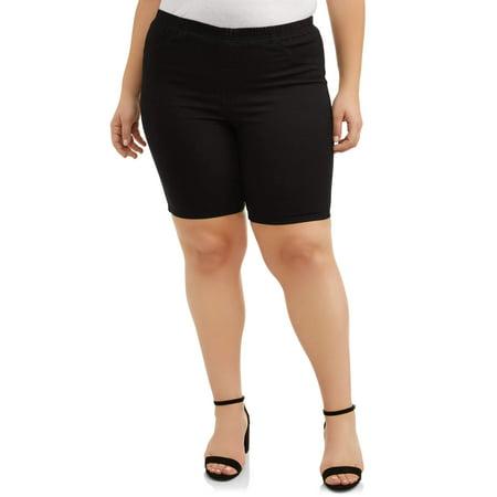 Women's Plus Size Super Stretch Pull on Elastic Waistband Bermuda