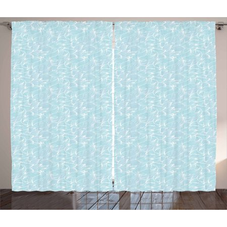 Abstract Curtains 2 Panels Set, Ocean Inspired Hand Drawn Wave Pattern Lines and Swirls Soft Toned Palette, Window Drapes for Living Room Bedroom, 108W X 96L Inches, Baby Blue white, by Ambesonne - Adult Baby Phone Lines