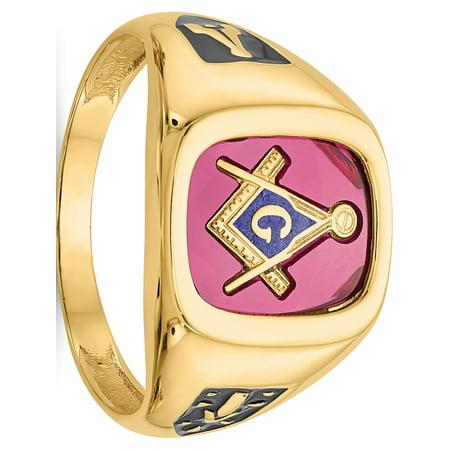 10k Yellow Gold Red Acrylic Mens Masonic Ring