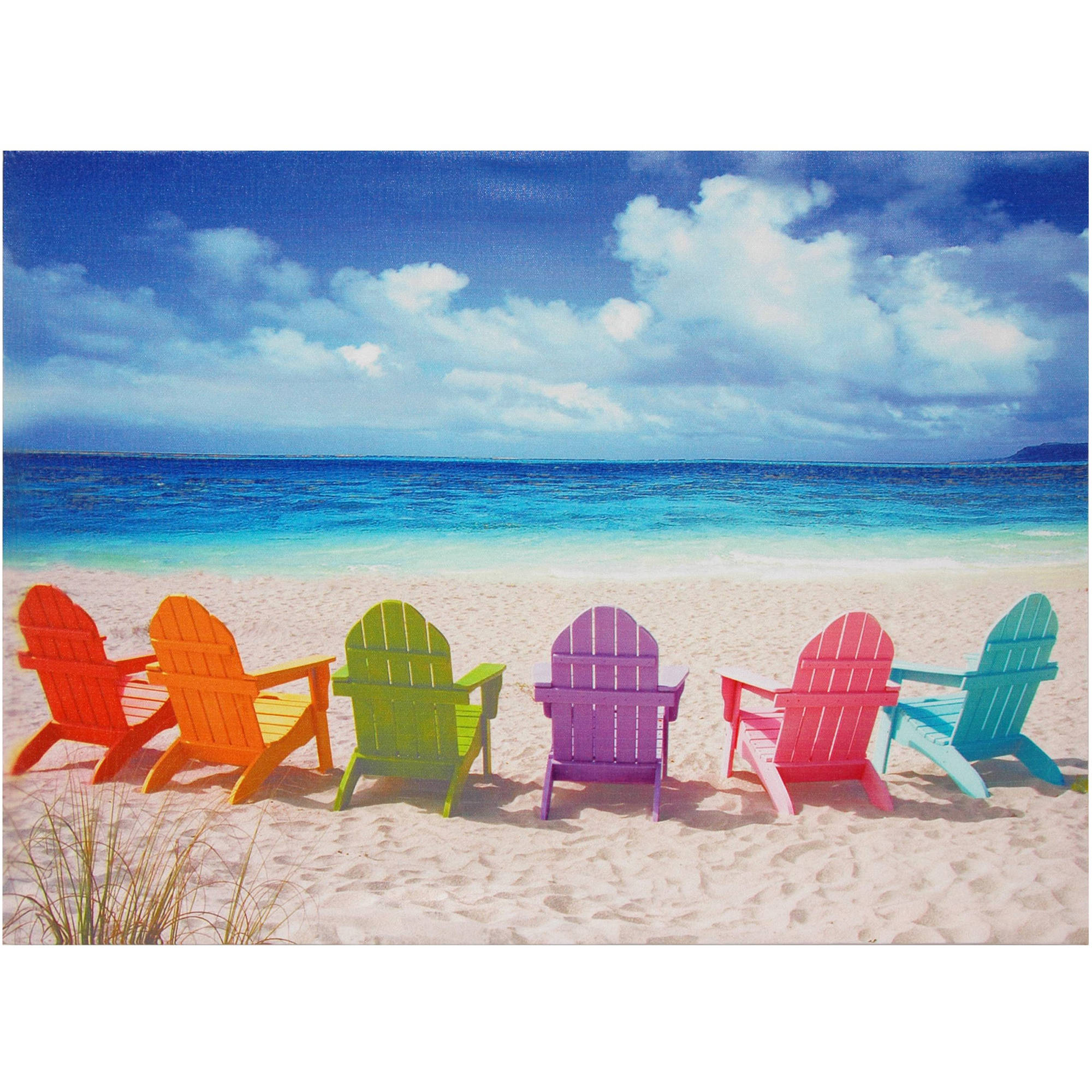 Beach Chairs Canvas Wall Artwork by Oriental Furniture