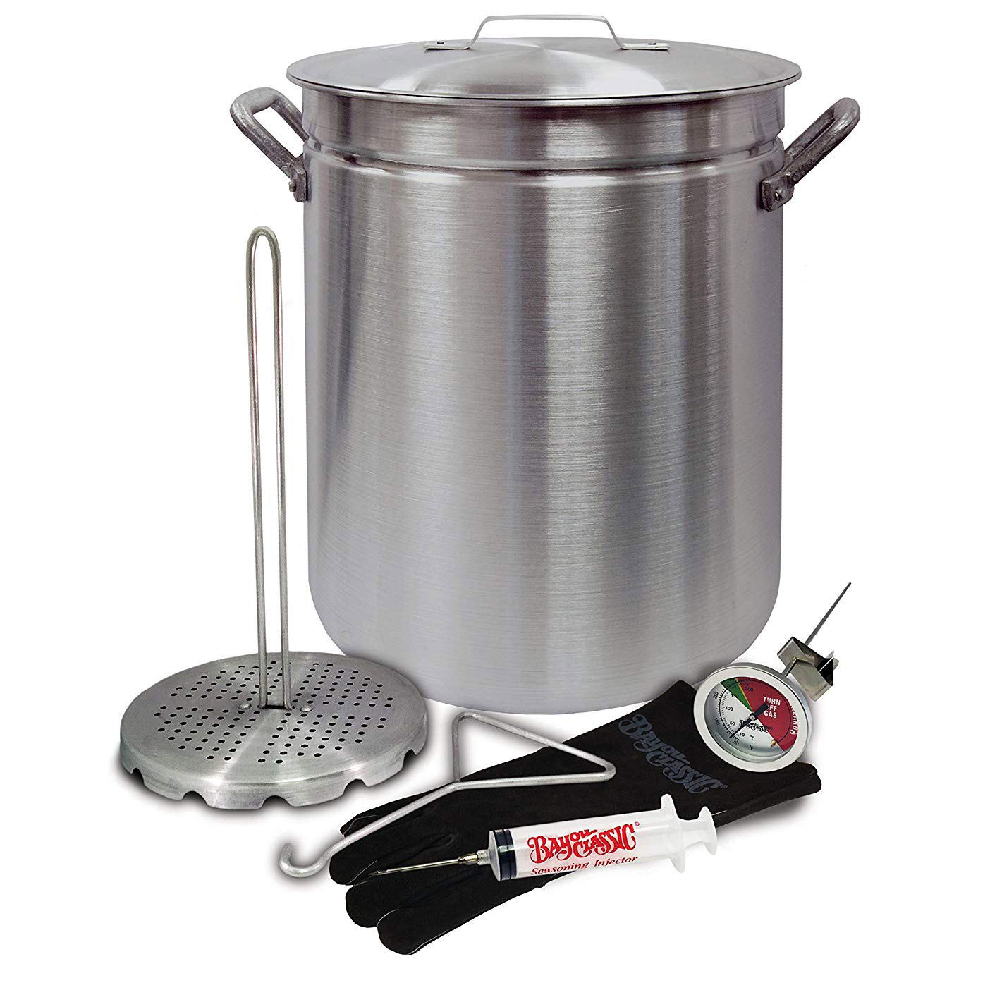 Bayou Classic 4225 42 Quart Aluminum Grand Gobbler Stockpot and Accessories