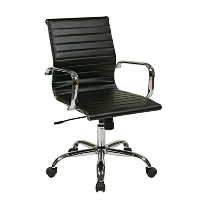 Avenue 6 Office Star FL3836C-U6 Thick Padded Black Faux Leather Seat and Back with Built-in Lumbar Support