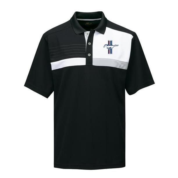 Mens Mustang GT Crest Premium Polo Shirt - Black/White, 3XL