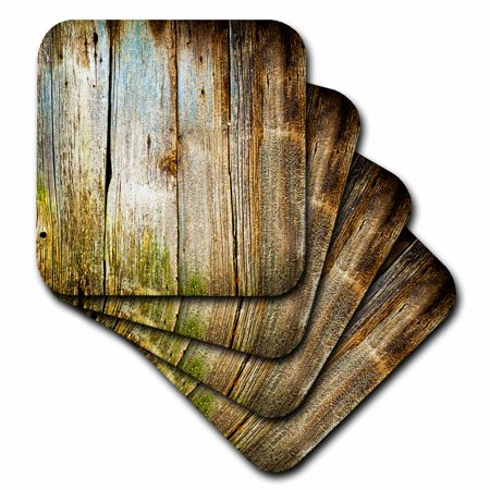 3dRose Distressed Brown Barn Wood Effect - Ceramic Tile Coasters, set of 4