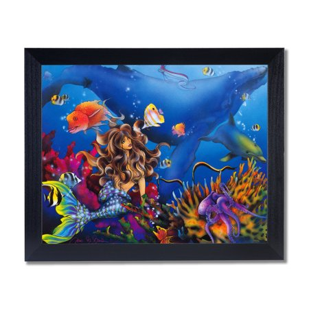 Black Whale - Lady Mermaid Dolphin Whale Ocean Wall Picture Black Framed Art Print