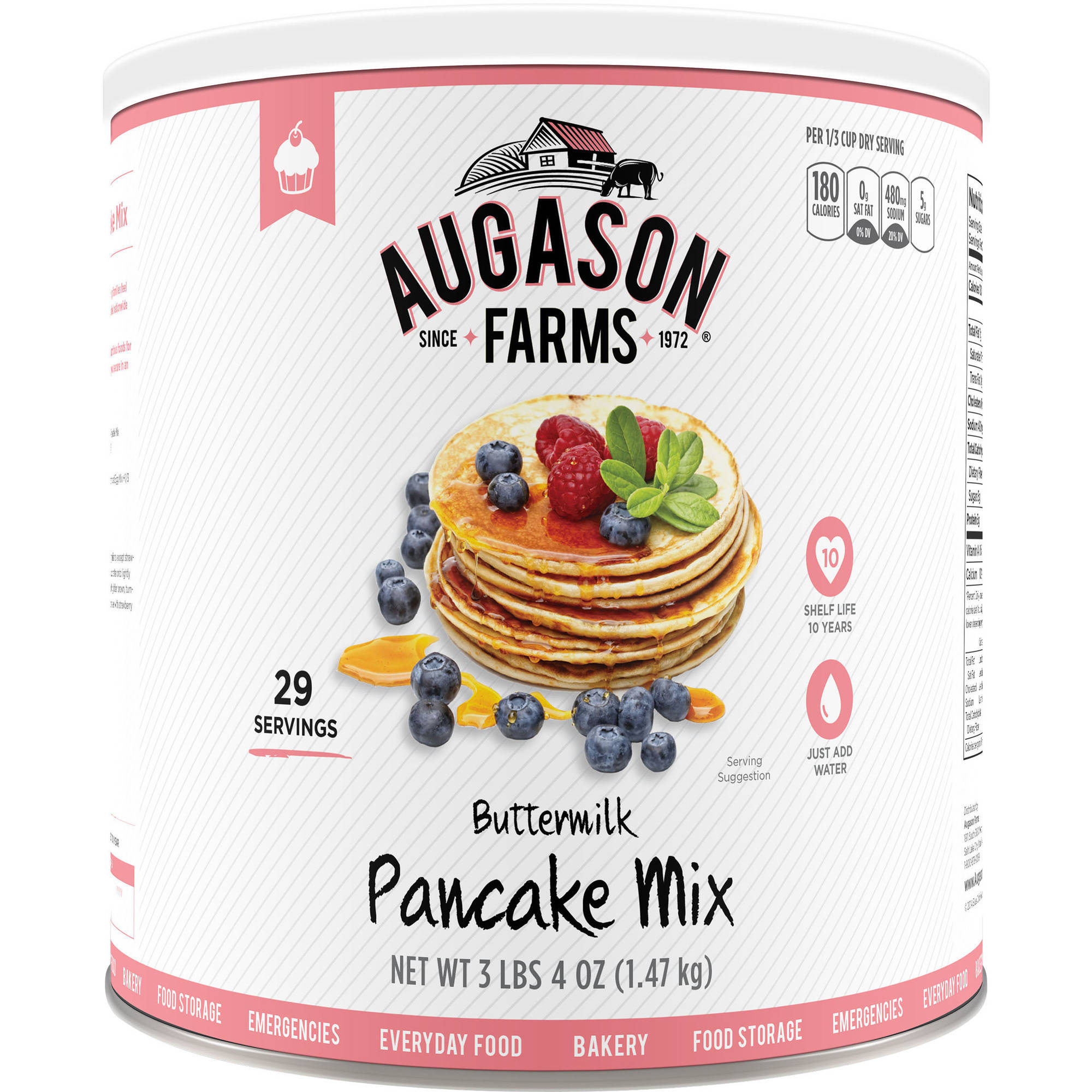 Augason Farms Emergency Food Buttermilk Pancake Mix, 54 oz