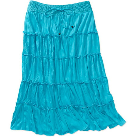 Women's Plus-Size Crinkle Tiered Knit Skirt with Crochet Waistband