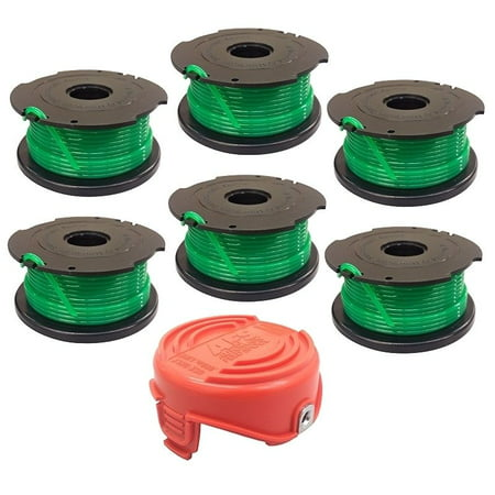 6 Replacement Spools and Cap for Black & Decker GH3000 Trimmer