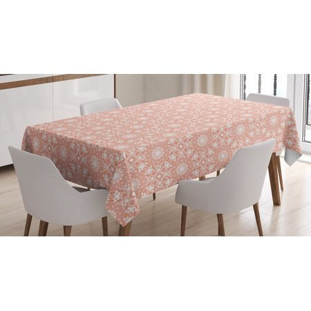 Coral Tablecloth, Artistic Flourish Embroidery Pattern Ethnic Mandala Motifs Classical Fashionable, Rectangular Table Cover for Dining Room Kitchen, 52 X 70 Inches, Coral White, by Ambesonne](Coral Table Cloth)