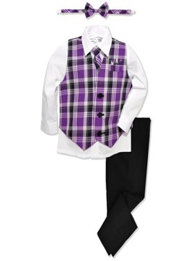 Johnnie Lene Boys Formal Plaid Dresswear Vest Set JL46