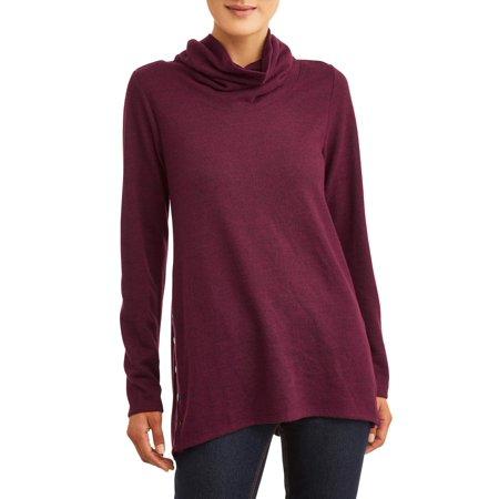 Womens Open Neck Shirt - French Laundry Women's Super Soft Cowl Neck Long Sleeve T-Shirt