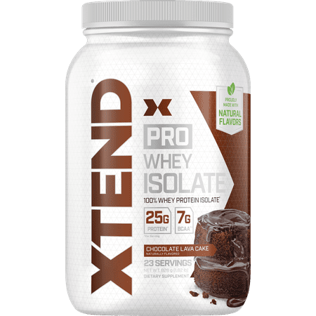 Xtend Pro 100% Whey Protein Isolate Powder with 7g BCAA & Natural Flavors, Keto Friendly, Gluten Free Low Fat Low Carb, 1.8lb, Chocolate Lava